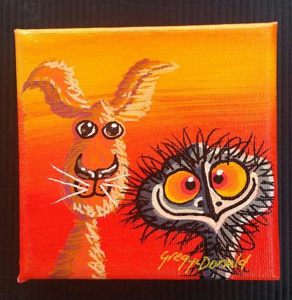 Painting Kangaroo Emu
